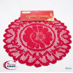 Naperon redondo vermelho 36cm