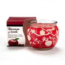 Vela aroma maçã e canela em copo de vidro