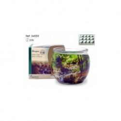 Vela aroma musgo e bosque em copo de vidro