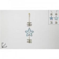 Estrela de madeira p/ pendurar 25x10cm