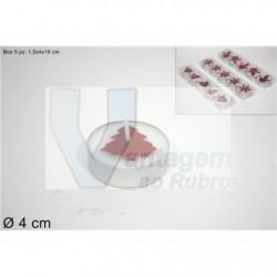 Pack de 5 tealights brancas c/ imagens vermelhas
