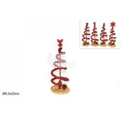 Árvore de natal vermelha c/ base em madeira 22cm