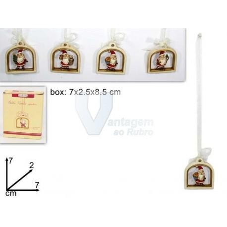 Pendente em loiça c/ Pai Natal 7x2.5x8.5cm