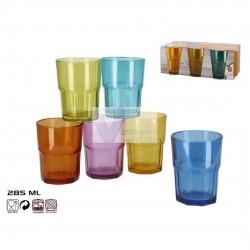 Copo de vidro 285ml - cores sortidas
