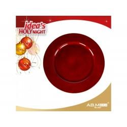 Marcador de mesa glitterado vermelho 33cm diâmetro