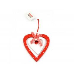 Acessório p/ pendurar em madeira forma coração 25x14cm
